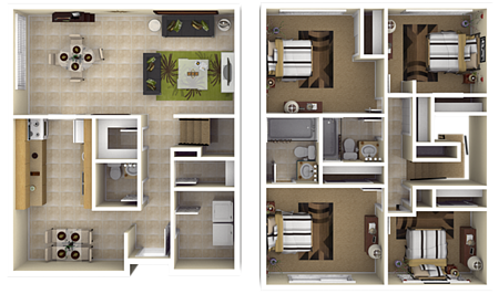The French Quarter floor plan features 4 bedrooms, 2.5 ...