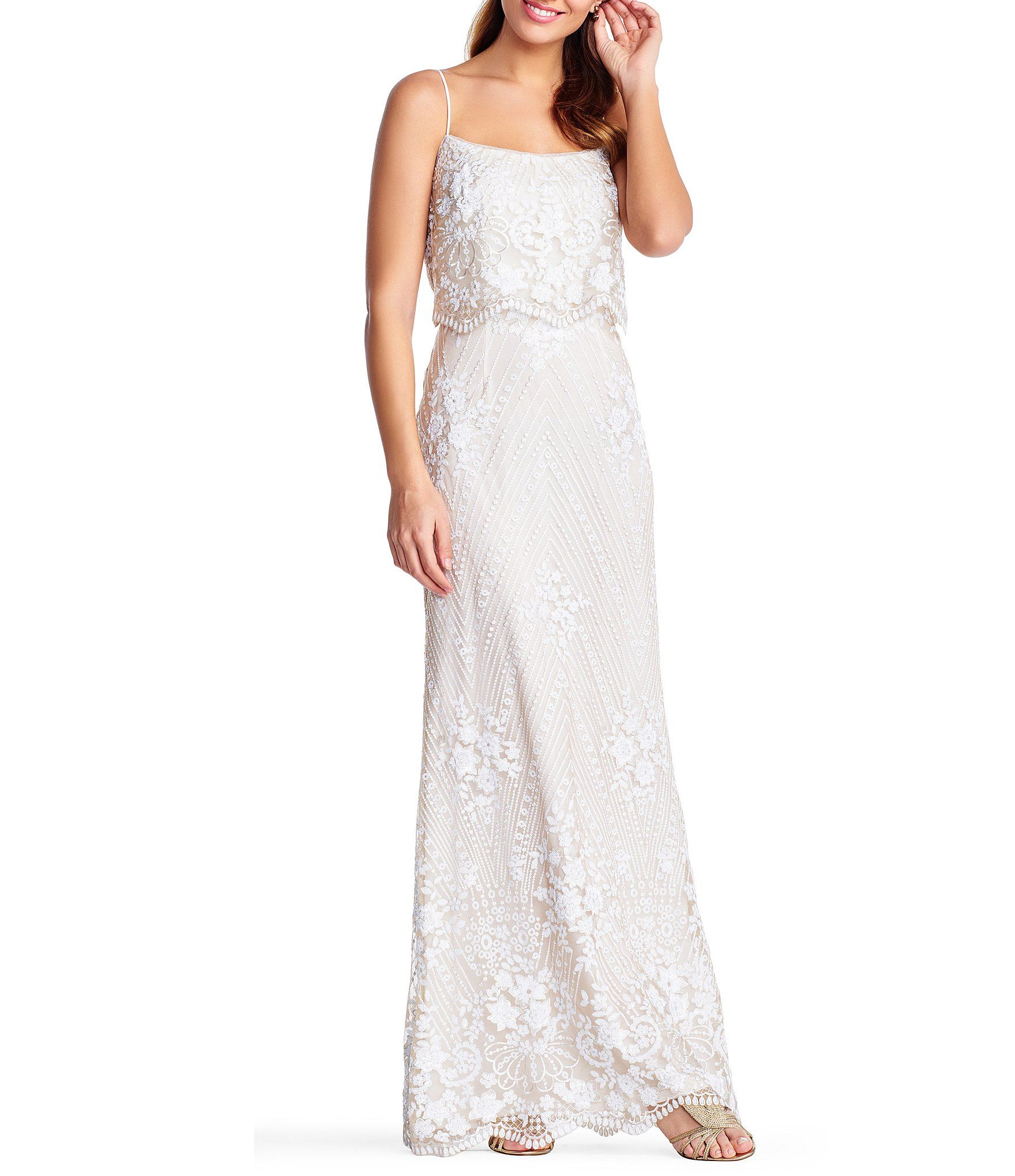 Wedding dresses dillards  Adrianna Papell Lace u Sequin Square Neck Pop Over Gown  Carrie