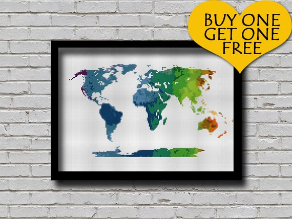 Cross Stitch Pattern World Map Silhouette Watercolor Effect Decor