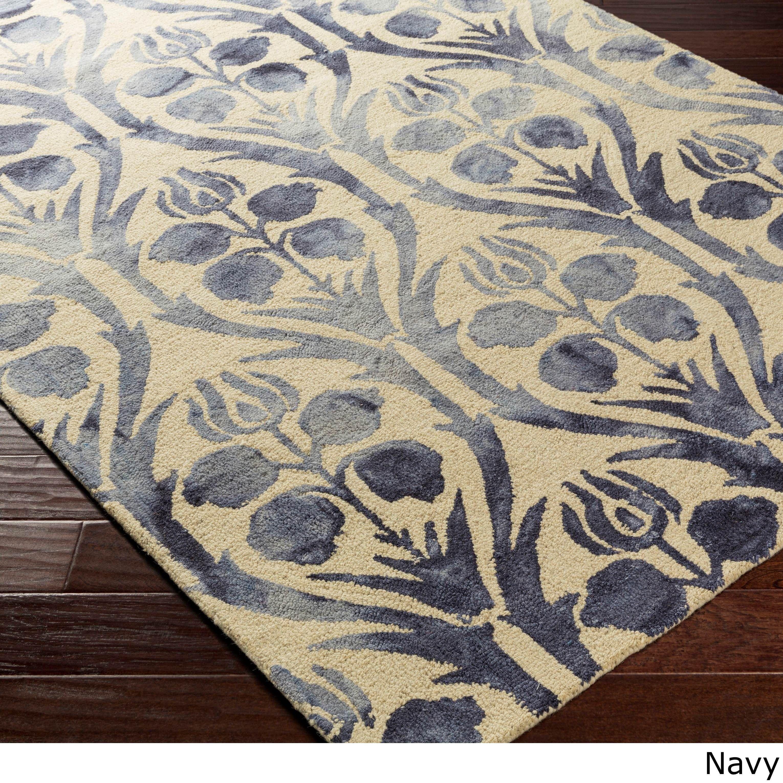 Hand-Hooked Rutland Floral Wool Rug (4\' x 6\') (Green-(4\' x 6 ...