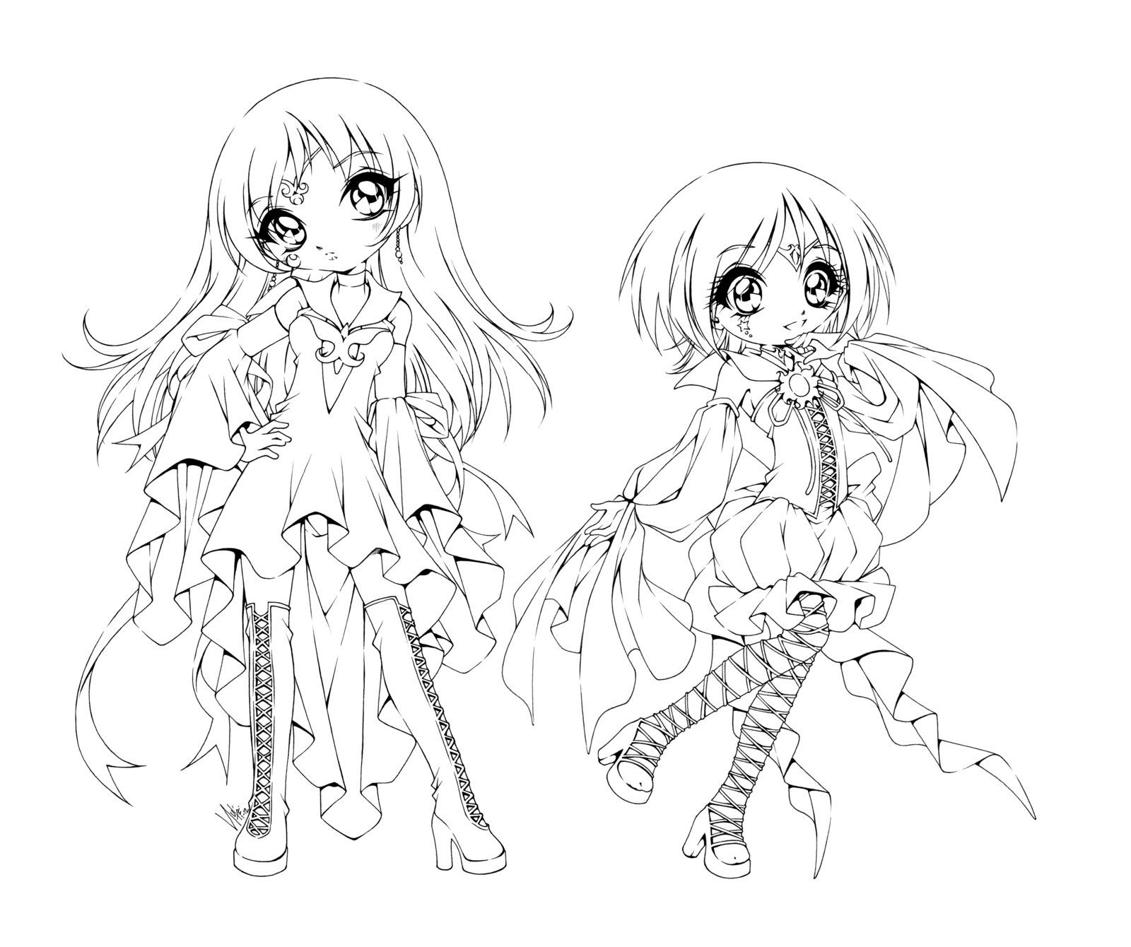 The Lemonade Sisters By Sureya On Deviantart Anime Lineart Anime Sisters Coloring Pages