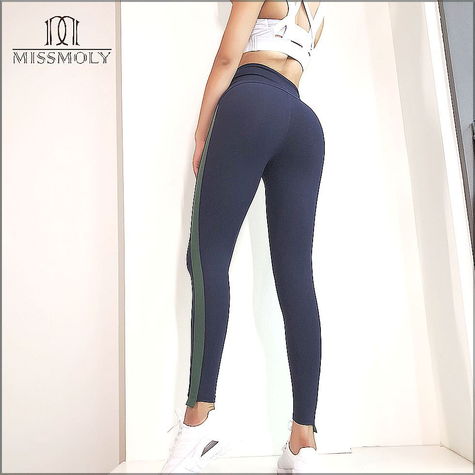 MISS MOLY Women Sports Mesh Trousers Athletic Gym Workout Fitness Waist Yoga Pants Running Leggings