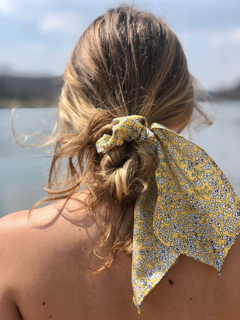 Summer Yellow Floral Hair Scarf, Hair Scarf, Hair Accessories, Scrunchie, Scrunchie Scarf, Graduation Present