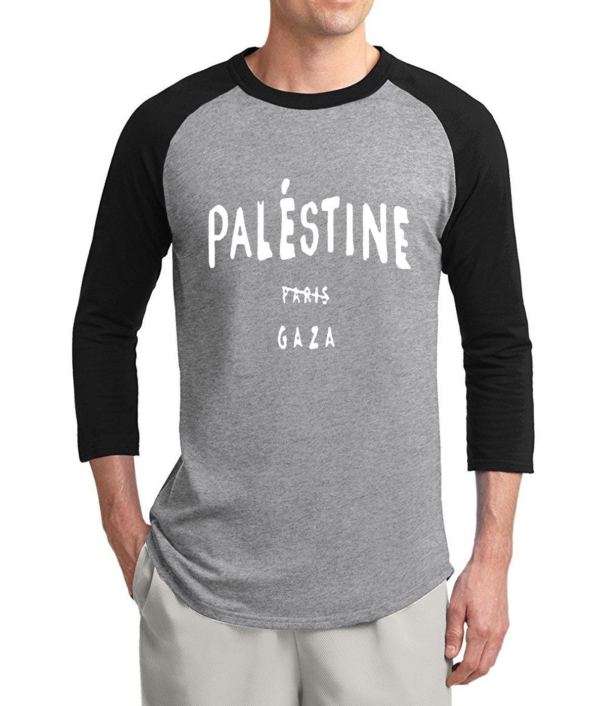 Gaza Palestine is not belong to paris funny 3/4 sleeve t shirts men 2017 summer 100% cotton raglan men t-shirt o-neck top tees #Affiliate