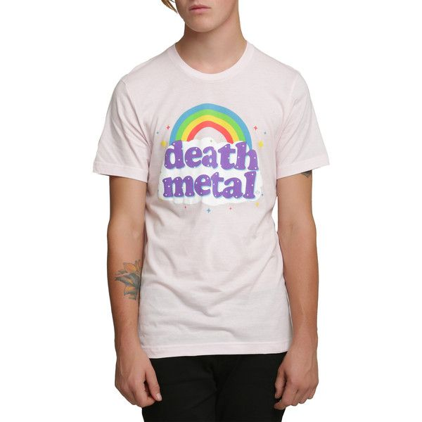 Death Metal Rainbow T-Shirt Hot Topic ($16) ❤ liked on Polyvore featuring tops, t-shirts, metal top, pink top, rainbow t shirt, metal t shirts and pink tee