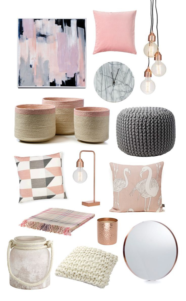 bedroom items. Colour trend  Blush pink and Gray color