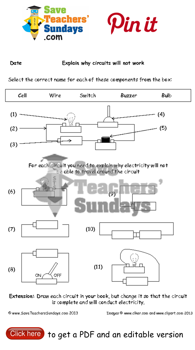 Names of components and Circuits that will not work worksheet. Go to  http://www.saveteacherssu…   Teaching resources primary [ 1442 x 803 Pixel ]