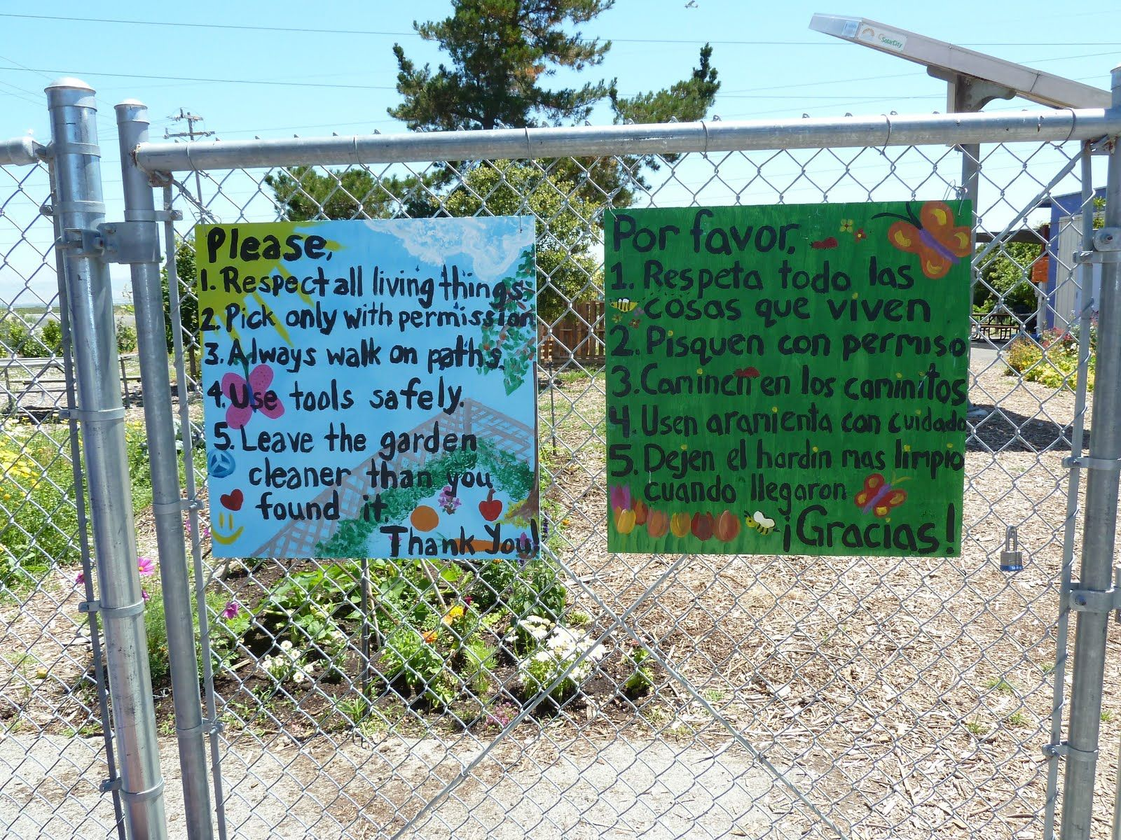 Bi-lingual rules | School Garden Signs | Pinterest | Gardens and ...