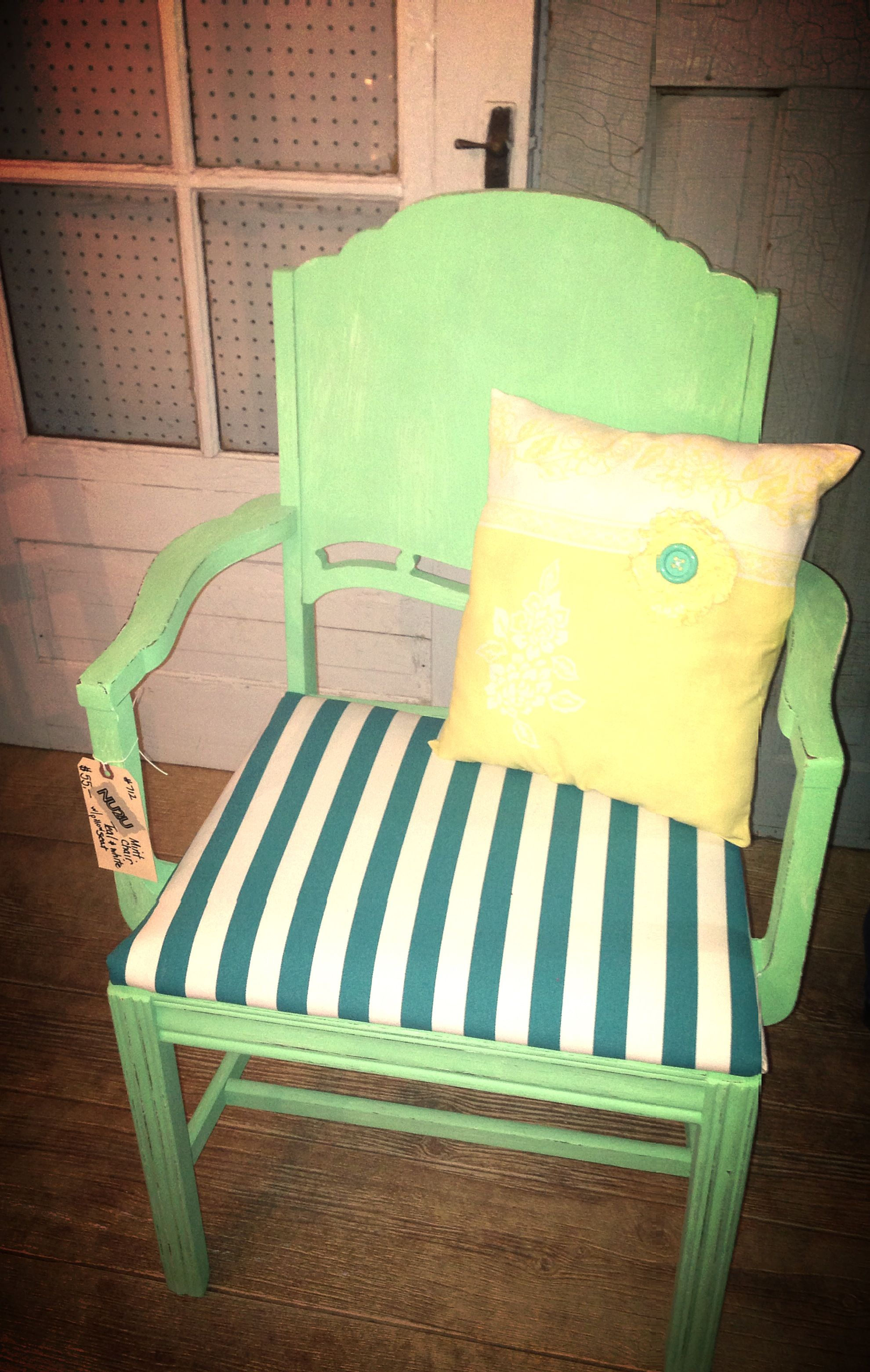 Mint green chair with yellow pillow furniture pinterest