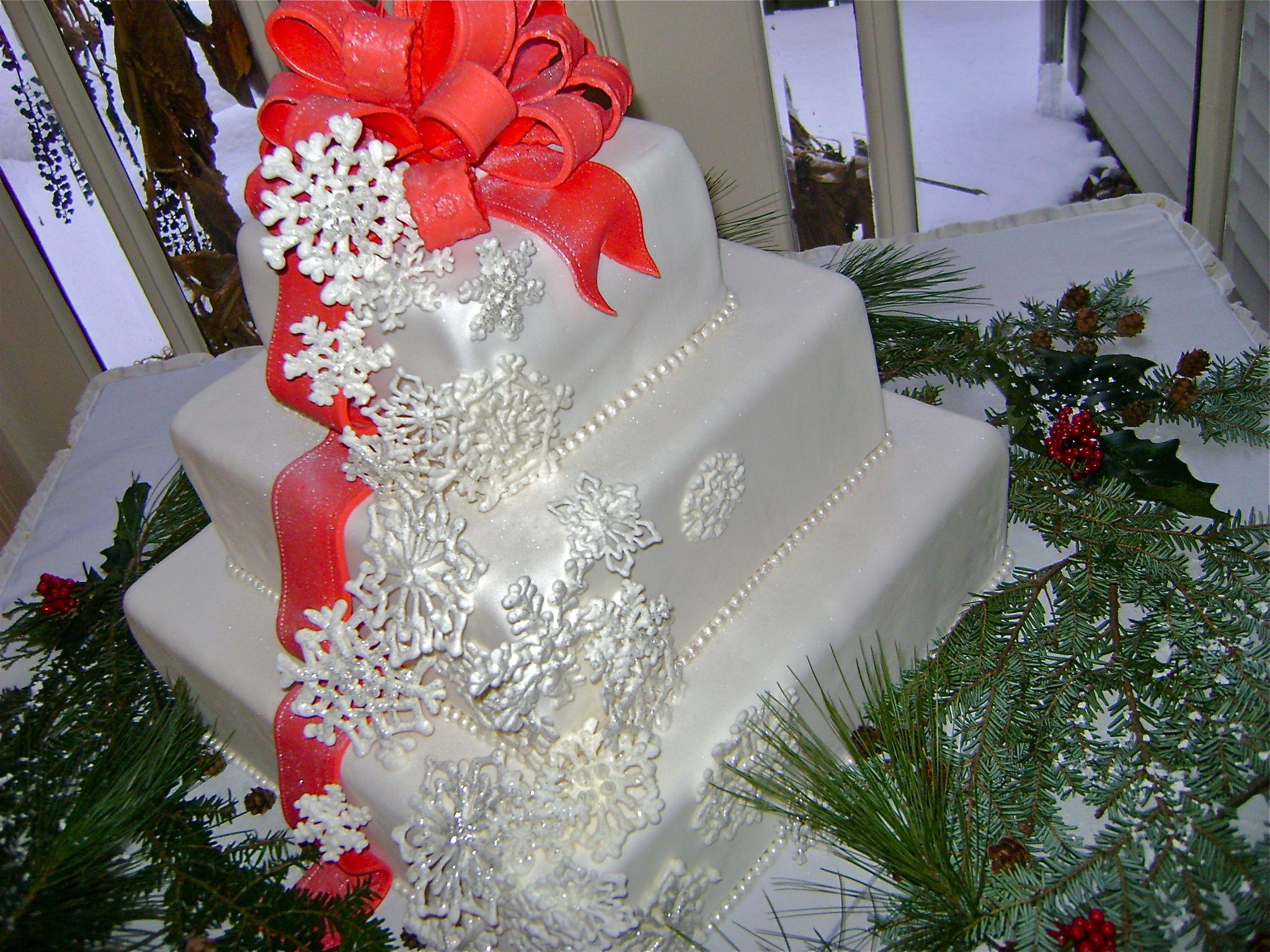 Square cake wedding cake red bow snowflake cake winter wedding