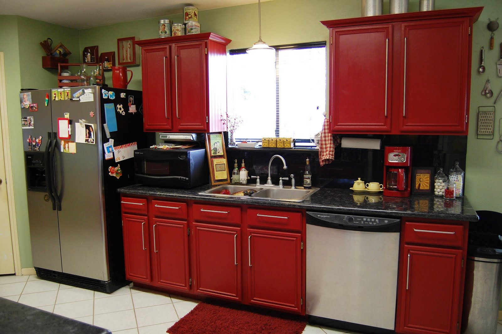 Attractive Kitchen Furniture With Red Kitchen Cabinet Between Small Window On Calm Wall Red Kitchen Cabinets Modern Kitchen Cabinet Design Kitchen Design Small