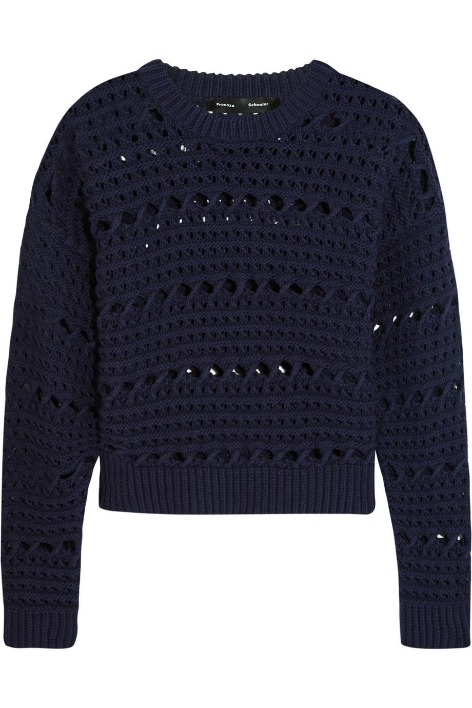 PROENZA SCHOULER Cropped Open-Knit Cotton-Blend Sweater. #proenzaschouler #cloth #sweater