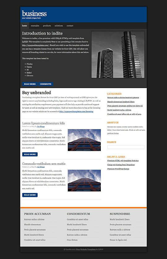 Indite A Free Css3 And Html5 Compliant Web Template Fixed With Two Column Free Css Layout A Busines Corporate Website Templates Templates Website Template