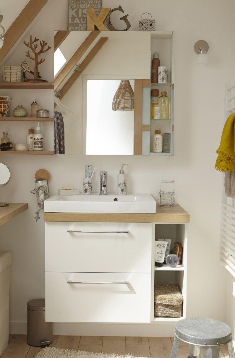 Un Meuble Vasque Compact Blanc Leroymerlin Salle De Bain Amenager Petite Salle De Bain Petite Salle De Bain