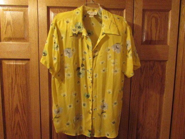 WOMEN'S YELLOW FLOWER BLOUSE, SIZE XL #JORAN #ButtonDownShirt. eBay item number:132184845643