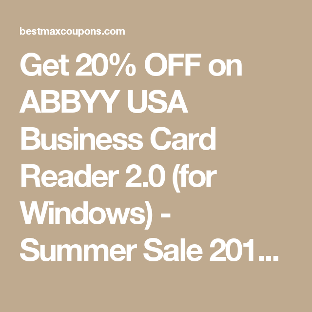Get 20 off on abbyy usa business card reader 20 for windows get 20 off on abbyy usa business card reader 20 for windows reheart Images