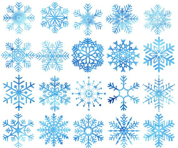 Snow blue. Watercolor snowflakes clipart christmas
