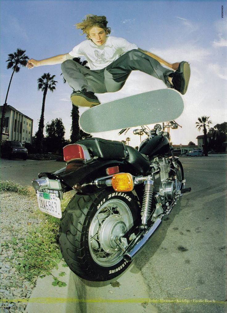 Jamie thomas kickflip over a motorcycle chill