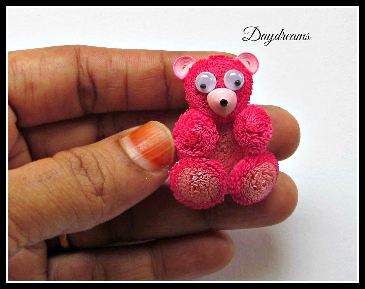 DAYDREAMS Quilled teddy bear card  Paper beads and quilling