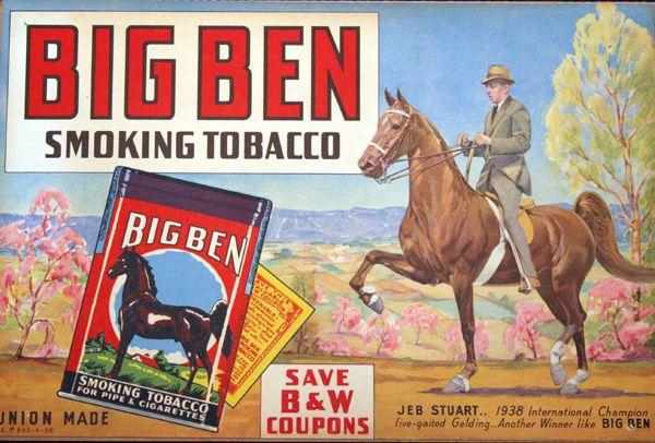 Big Ben Tobacco Advertising Poster Jeb Stuart 1938 Third ...