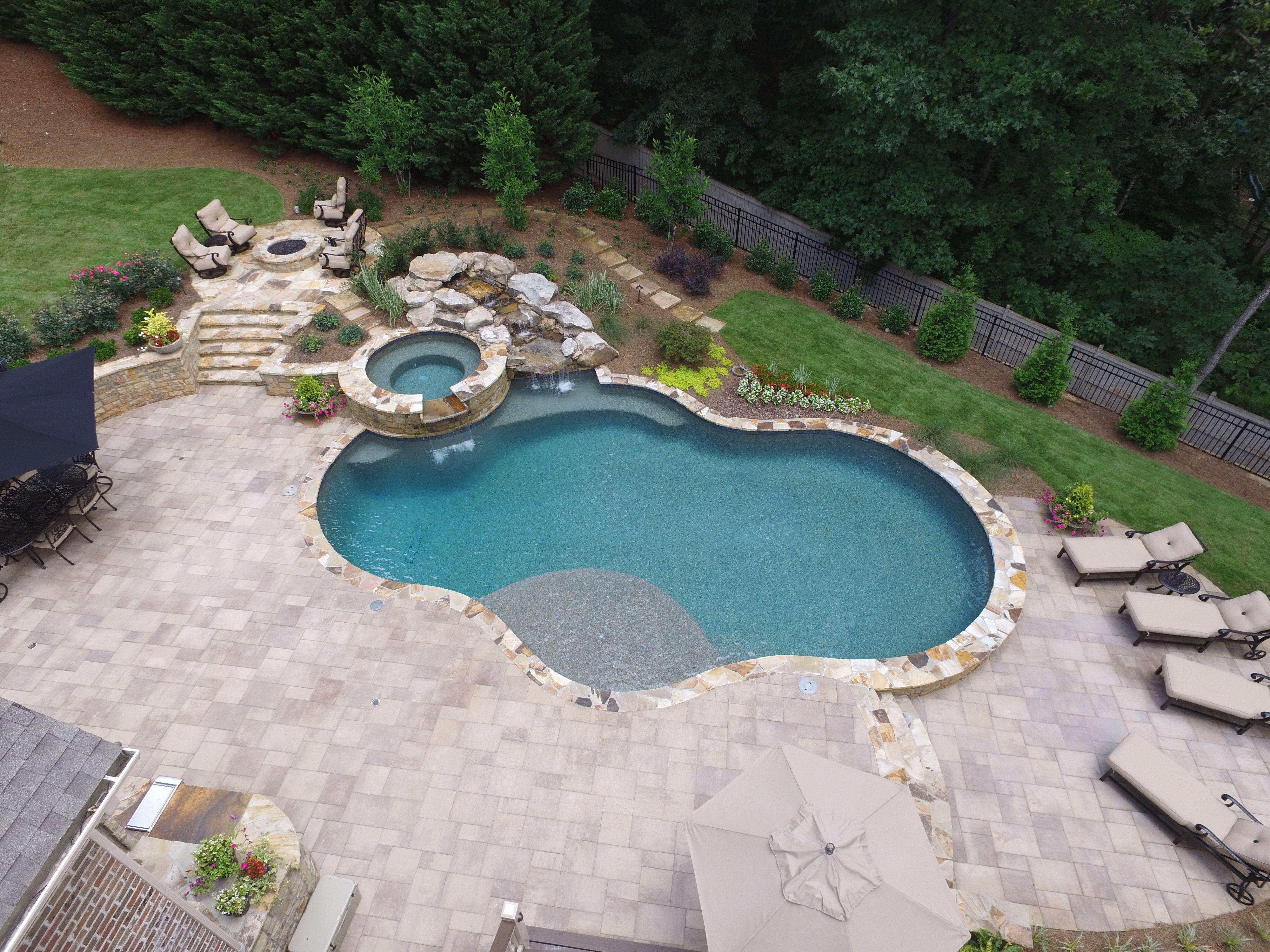 Inground Freeform Pool With Raised Spa Irregular Flagstone Coping