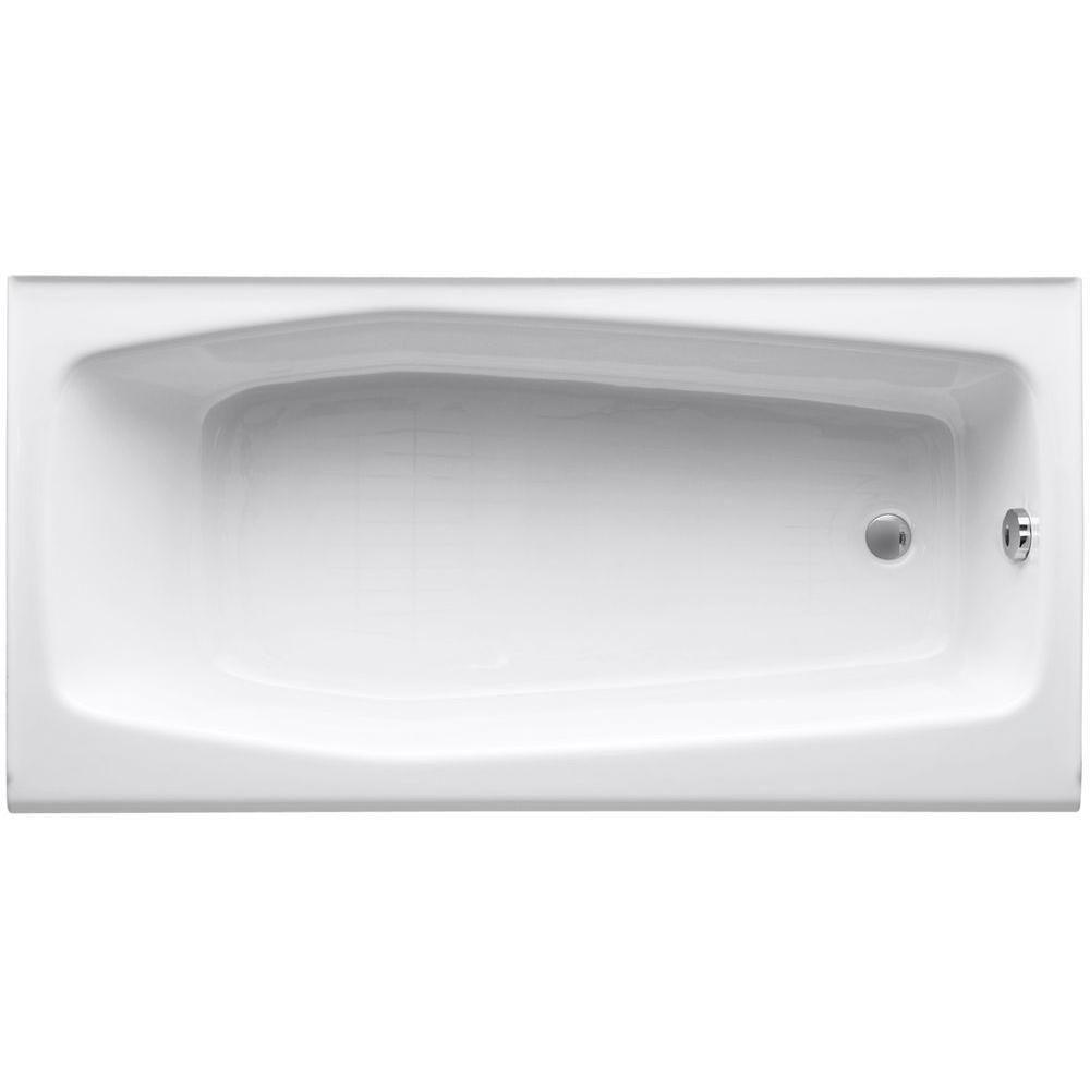 Kohler villager 5 ft cast iron right hand drain rectangular alcove non whirlpool bathtub in white