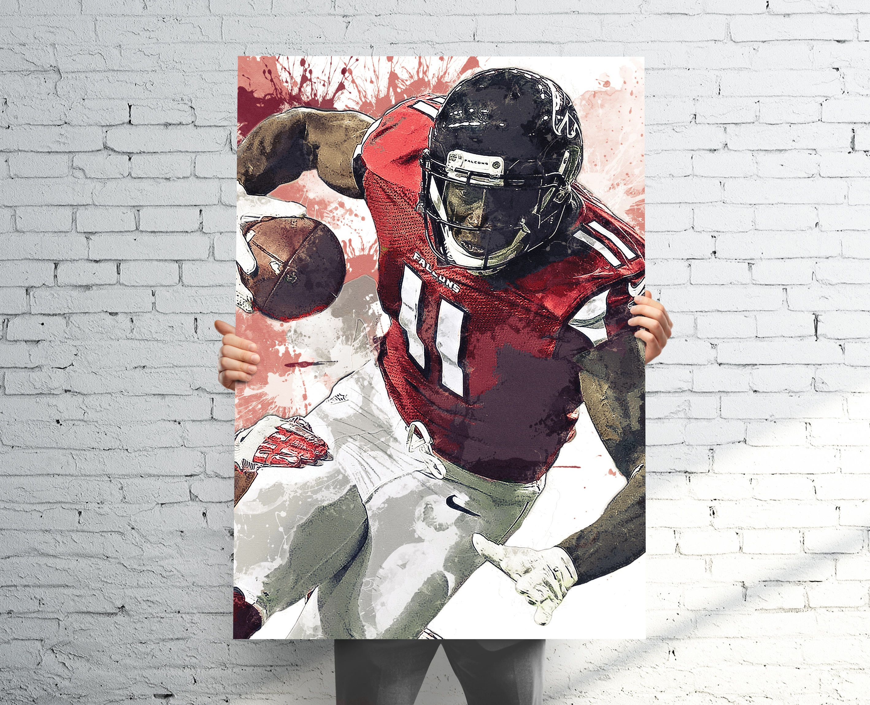 Julio Jones Atlanta Falcons Updated Sports Art Print Poster Watercolor Abstract Paint Splash Kids Decor Gifts For Men Man Cave Sports Art Art Watercolor Paintings Abstract
