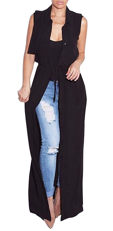 Amazon.com: Kearia Women Fashion Sleeveless Waistcoat Chiffon Maxi ...