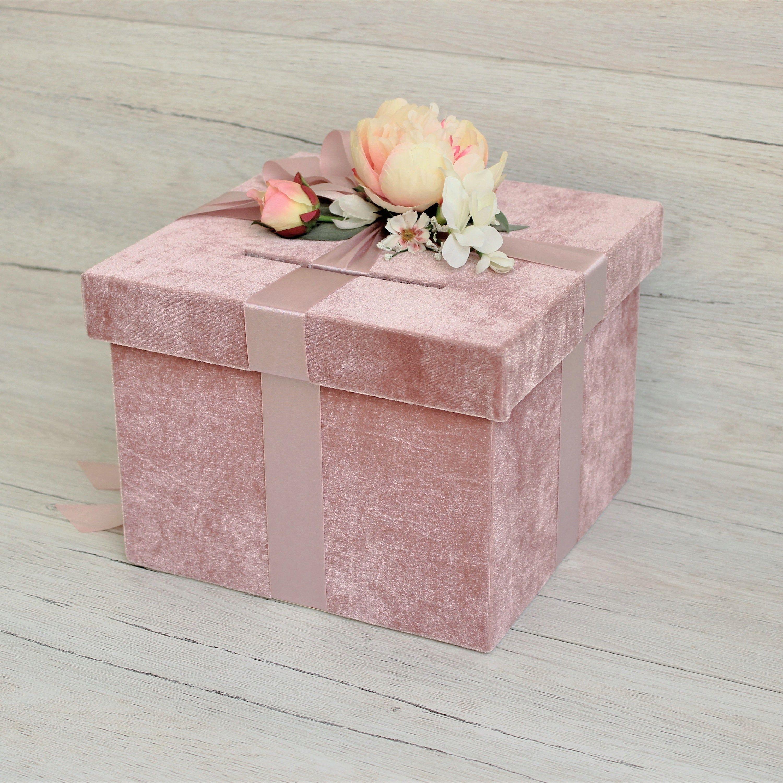 Wedding Card Box With Slot Dusty Pink Velvet Wedding Money Box With Flowers Honeymoon Fund Box Card Box Wedding Money Box Wedding Wedding Cards