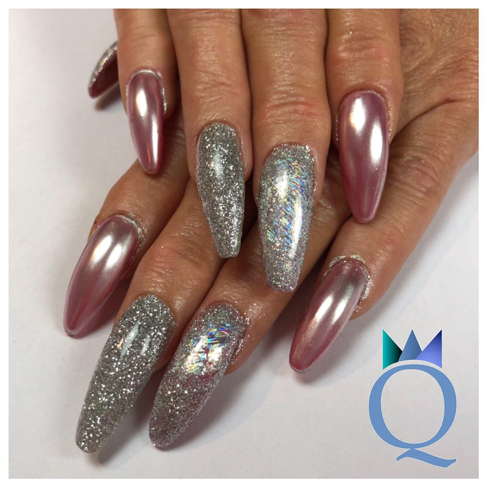 long #coffinnails #gelnails #nails #pink #chrome #silver #glitter ...