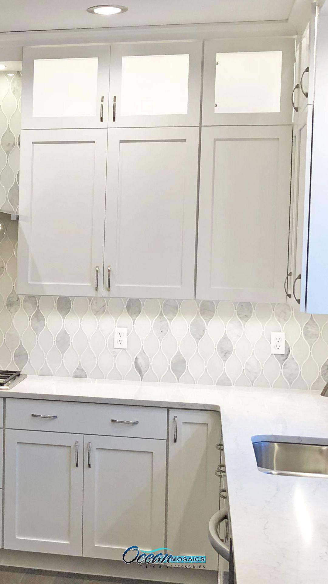 Chandelier Carrara Teardrop Glass Mosaic Tile Kitchen Backsplash