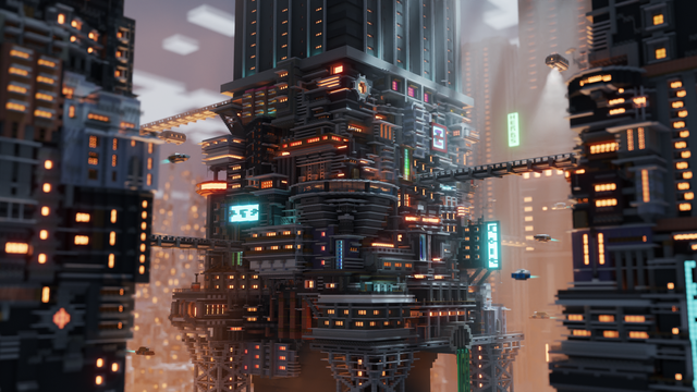 Cyberpunk Scene I Built In Minecraft And Rendered In Blender Gaming In 2020 Cyberpunk Minecraft Scene