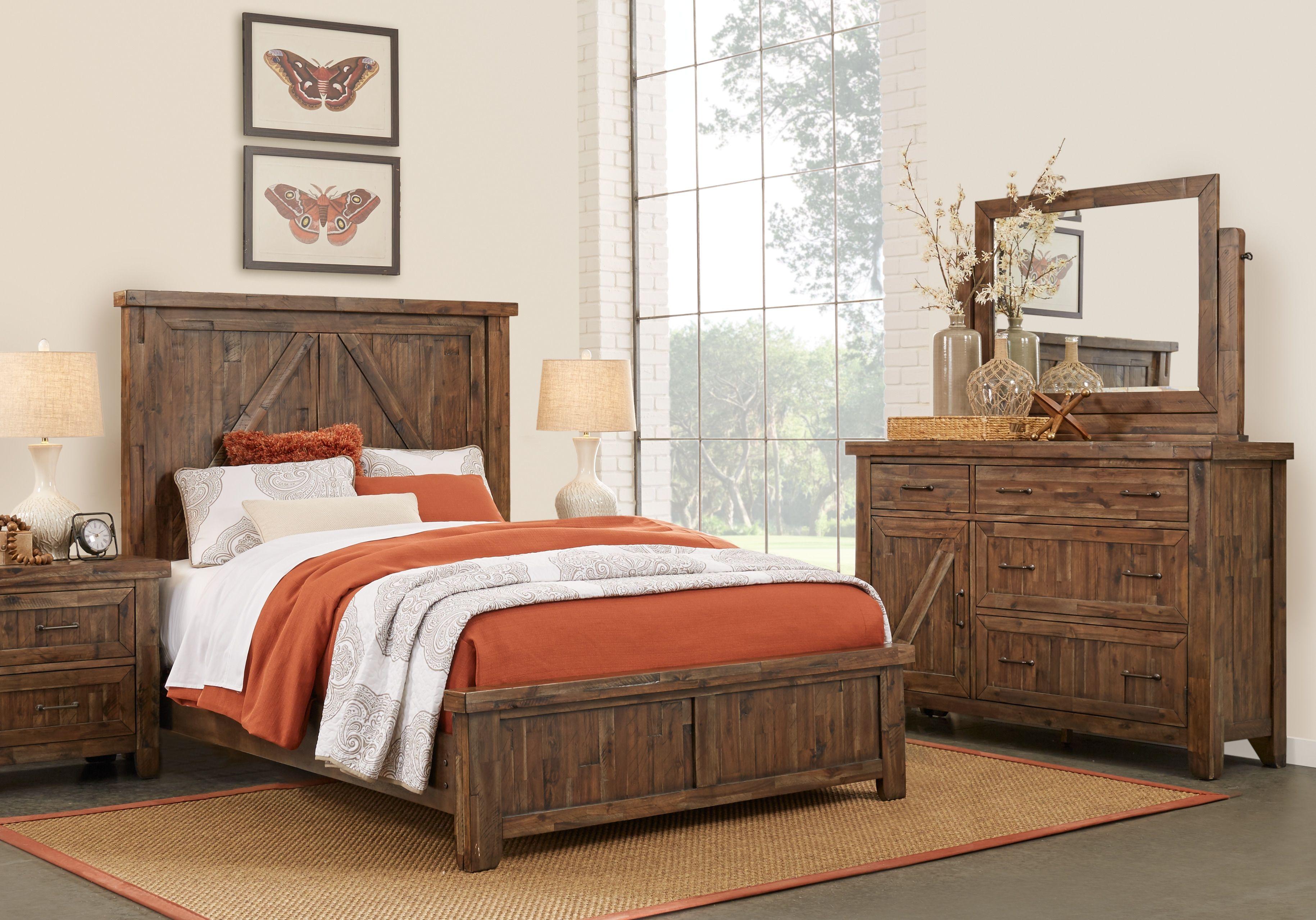 Fieldcreek Brown 7 Pc Queen Panel Bedroom | King size ...
