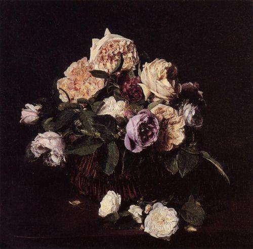 """saturnsdaughter: """"Henri Fantin-Latour, Roses dans un panier sur une table, 1876 """""""