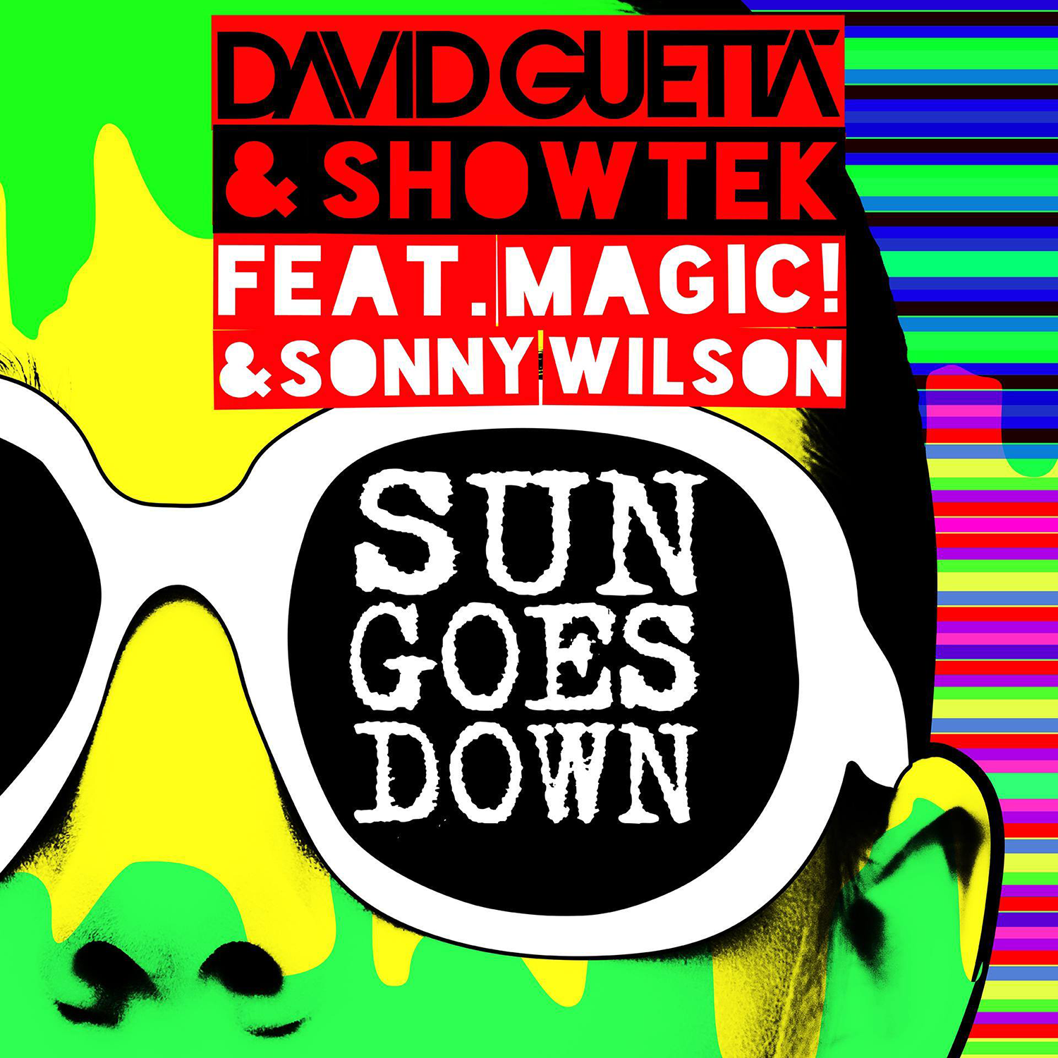 David Guetta, Showtek, Sonny Wilson, Magic! – Sun Goes Down (single cover art)