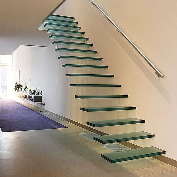 Straight floating staircase by Interbau escaleras Pinterest
