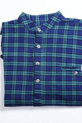 Red tartan soft brushed flannel Grandfather shirt