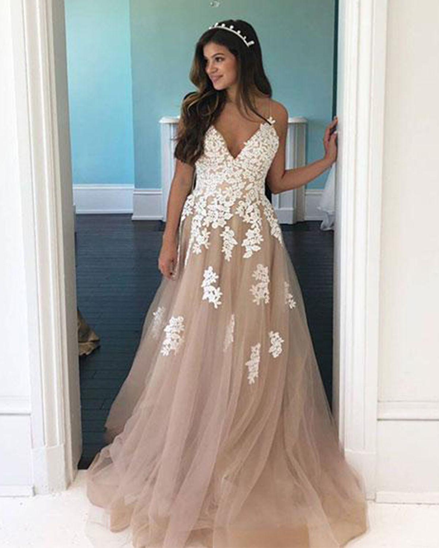 6741cc0b9d Champagne tulle V neck spaghetti straps long senior prom dress ...