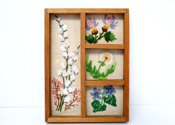 Very Small Vintage Floral Crewel Embroidery Shadow Box
