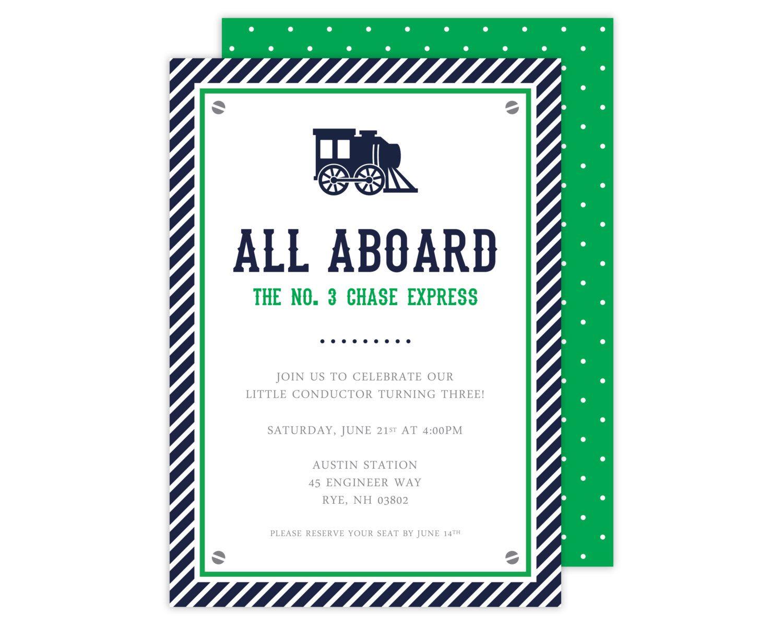 Preppy Train Birthday Invitation (Navy and Green Train Party, Train ...