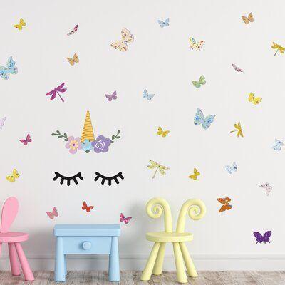 Zoomie Kids Sleeping Unicorn with Butterflies Wall Decal#butterflies #decal #kids #sleeping #unicorn #wall #zoomie