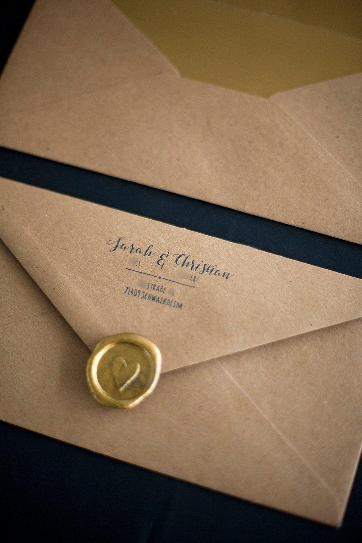 Kraftpapier Gold Papeterie Einladung Goldene Hochzeit