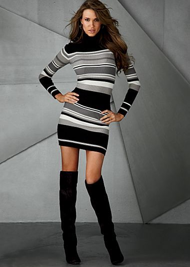 Black, grey and white striped turtleneck sweater dress