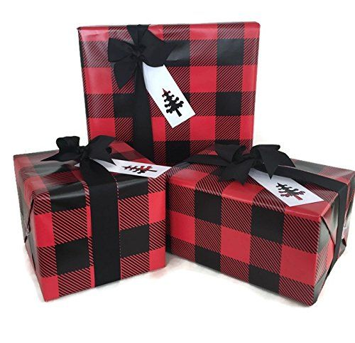 Lumberjack Gift Wrap Paper (Red Buffalo Plaid) for Christmas Gift