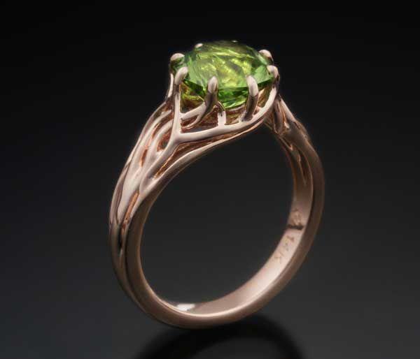 Angara Cushion Peridot and Diamond Halo Ring With Swirl Motifs Rose Gold jOt1lDJmnd