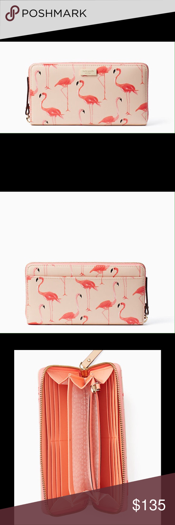 Kate Spade Shore Street Lacey Zip Around Wallet Kate Spade Shore Street Lacey Zip Around Wallet Flamingo Print kate spade Bags Wallets