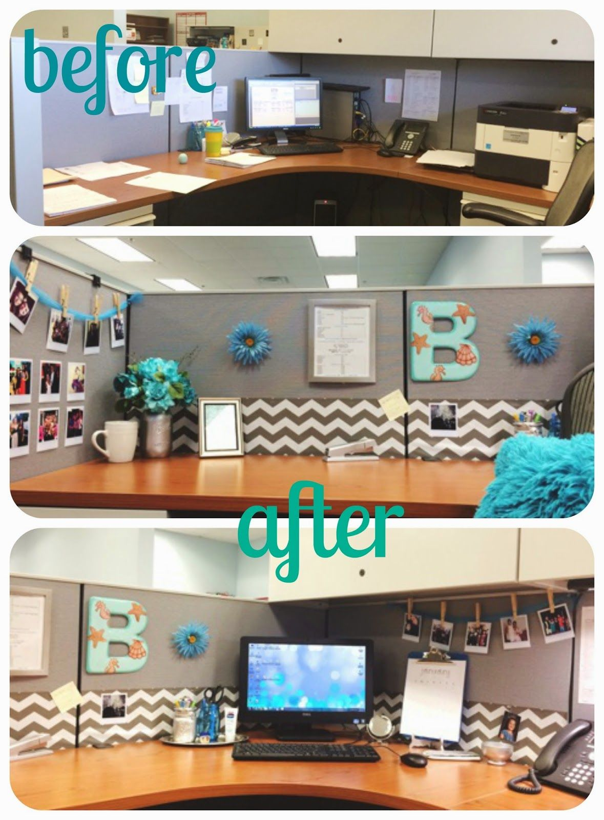 The beetique my office cubicle makeover office decor for Cute cubicle ideas