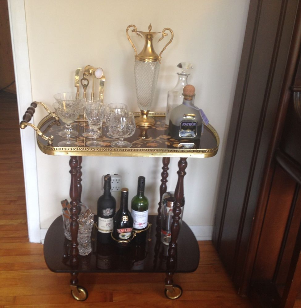 1950s Vintage Italian Bar Cart Hollywood Regency W Marquetry And Br Details