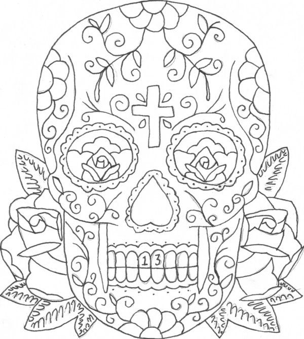printable coloring pages of skulls and roses candy skull tattoo mexican sugar skull tattoos - Sugar Skull Tattoo Coloring Pages