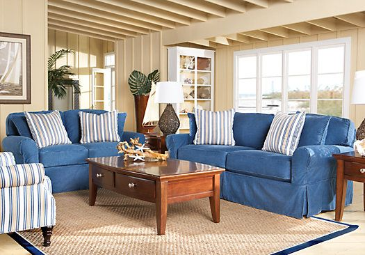 Shop For A Cindy Crawford Home Beachside Blue 7 Pc Livingroom At Rooms To Go Find Living Room
